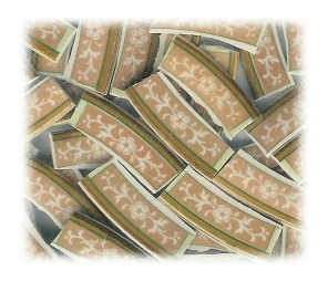 White Floral on Gold Background Broken China Mosaic Banners