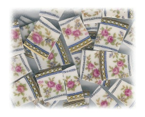 Fuchsia Roses with Blue Border Broken China Mosaic Tiles