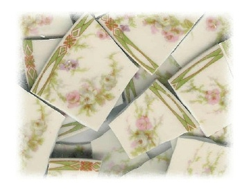 Pink Roses & White Roses Broken China Mosaic Tiles