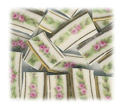 Pink Tiny Rose Garlands Broken China Mosaic Tiles