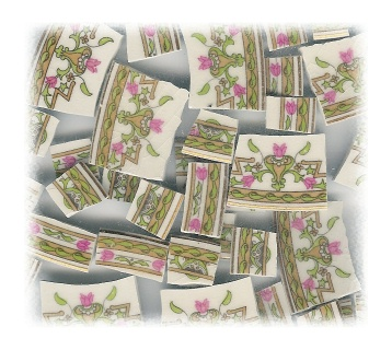 Pink Tulip & Green Medallions Broken China Mosaic Tiles