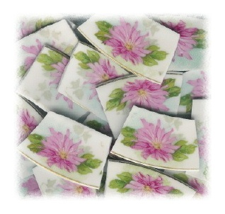 Pink Chrysanthemum Broken China Mosaic Tiles