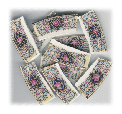 Pink Rose in Diamond with Blue & Gold Accents Broken China Mosaic Banners