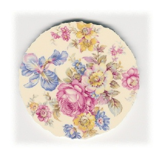 Pink Cabbage Rose with Flowers Broken China Mosaic Focal