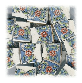 Orange Flower & Green Leaves with Blue Background Broken China Mosaic Tiles