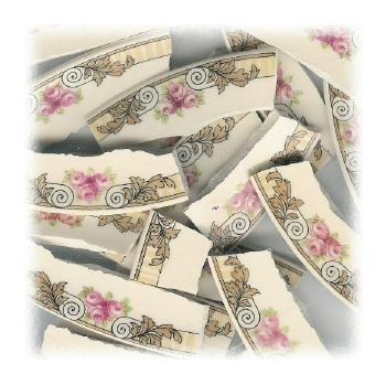 Pink Rose Trio with Gold Leaves Broken China Mosaic Tiles