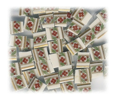 Red Flower with Green Accents Broken China Mosaic Tiles