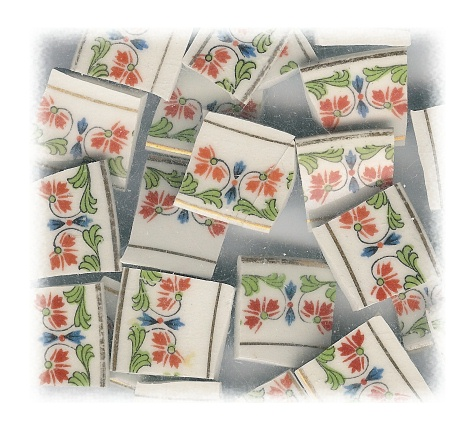 Orange Flowers with Green & Blue Accents Broken China Mosaic Tiles
