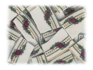 Red & Purple Flowers with Green Leaves Broken China Mosaic Tiles