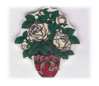 White Roses in Green Pot with Bow Broken China Mosaic Focal