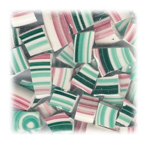 Red & Green Stripes Broken China Mosaic Tiles