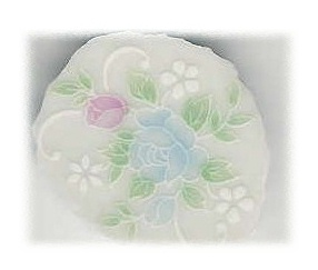 Pale Blue Rose & Pink Rose with White Flowers Broken China Mosaic Focal