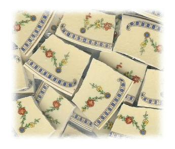 Floral Swags Broken China Mosaic Tiles