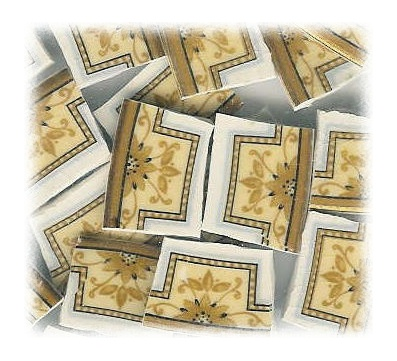 Golden Floral Medallions Broken China Mosaic Tiles