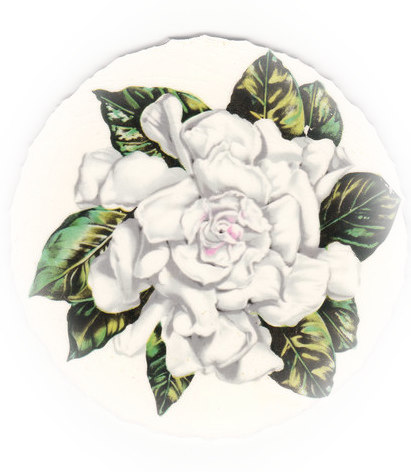 White Gardenia with Green Leaves Broken China Mosaic Focal