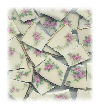 Pink Rose & White Daisy Garlands Broken China Mosaic Tiles