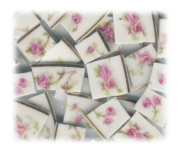 Pink Roses Broken China Mosaic Tile