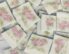 Pink Flowers & Green Vines Broken China Mosaic Tiles