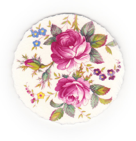 Fuchsia Roses, Purple Flowers, Blue Flowers & Green Leaves Broken China Mosaic Focal