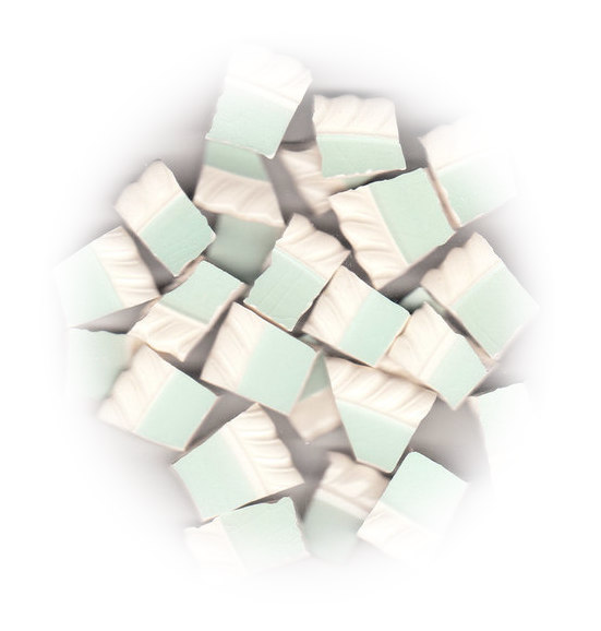 Aqua with White Fluted Rim Broken China Mosaic Tiles