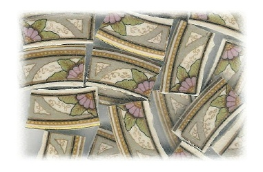 Lilac Flower Halves & Green Leaves with Gray Accents Broken China Mosaic Tiles