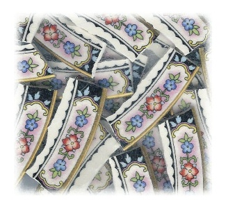 Red & Blue Flowers on Pink Broken China Mosaic Banners