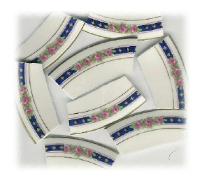 Pink Rose Trio on Blue Band Broken China Mosaic Banners