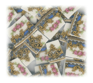 Pink Roses Swag with Gold & Blue Accents Broken China Mosaic Tiles