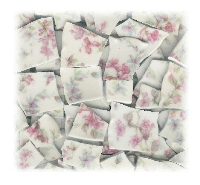 Pink Flowers, Blue Flowers & Green Leaves Broken China Tile