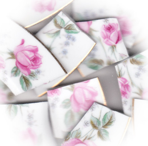Perfect Pink Roses Broken China Mosaic Banners