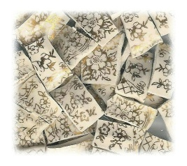 Gold Filigree Broken China Mosaic Tiles