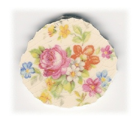 Pink Rose with Blue & Yellow & Orange & Pink Flowers Broken China Mosaic Focal