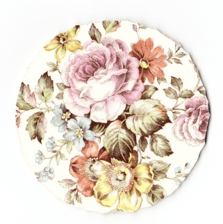 Pink Roses, Orange, Yellow & Blue Flowers Broken China Mosaic Focal