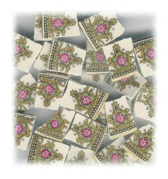 White Daisy on Fuchsia Circle Broken China Mosaic Tiles