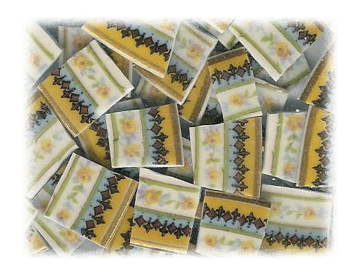 Tiny Yellow Roses Broken China Mosaic Tiles