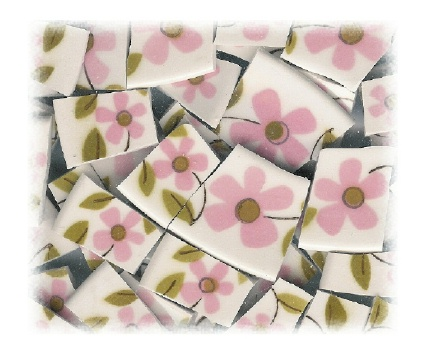 1960's Style Pink Flower Broken China Mosaic Tiles