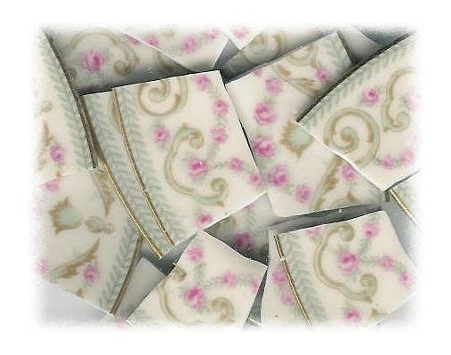 Pink Rose & Aqua Broken China Mosaic Tiles