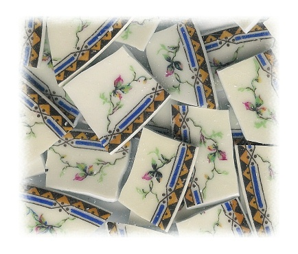 Pink Rosebuds On Vines Broken China Mosaic Tiles