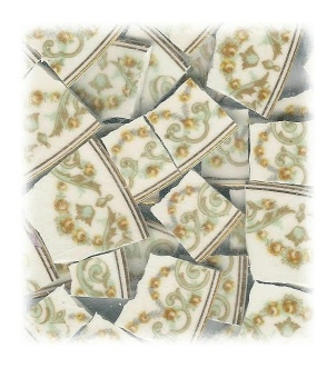 Yellow Roses & Aqua Scrolls Broken China Mosaic Tiles