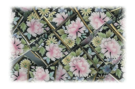 Pink, Yellow & Blue Floral on Black Background Broken China Mosaic Tiles
