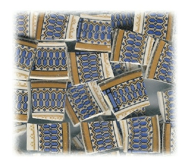 Blue & Gold Broken China Mosaic Tile
