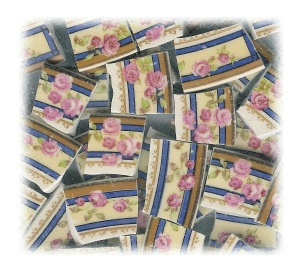 Pink Roses, Green Leaves on Yellow Background with Blue Bands Broken China Mosaic Tiles