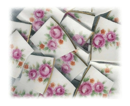Fuchsia Trailing Roses Broken China Mosaic Banners