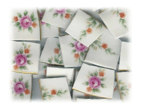 Fuchsia Rose & Orange Flower Broken China Mosaic Tiles