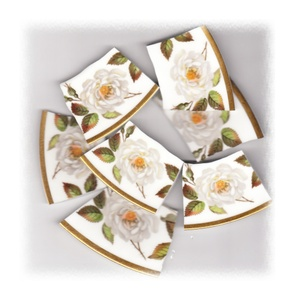 White Cabbage Rose Broken China Mosaic Banners