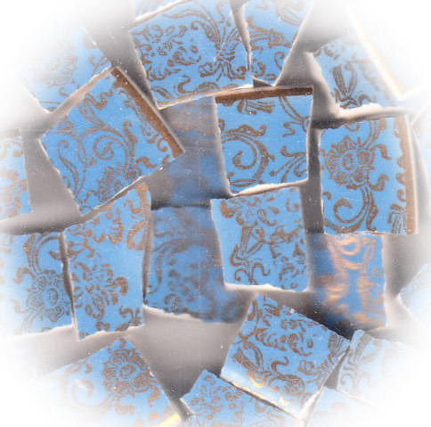 Gold Filigree on Sky Blue Broken China Mosaic Tile