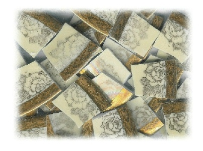 Gold Roses on Pale Yellow Background with Wide Gold Rim Broken China Mosaic Tiles