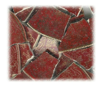 Gold Filigree on Burgundy Broken China Mosaic Tiles
