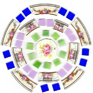 Roses Broken China Tile with Stained Glass Ready To Do Mosaic
